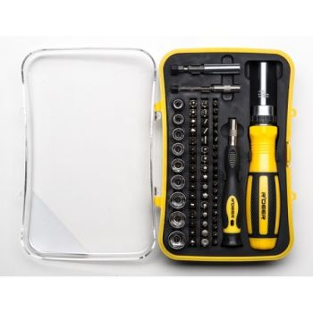 65 Piece Ratchet Screwdriver and Tool Bit Set
